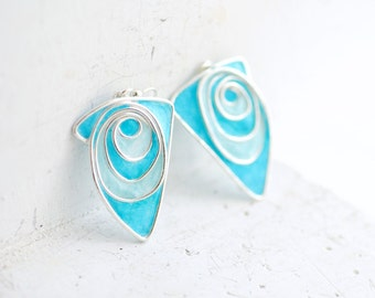 Mixed Media Earrings, Paper Jewelry, Blue Dangle Earrings, 1st Anniversary Gift, Unique Gift Wife, Statement Earrings