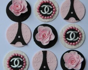 12 edible DESIGNER PARIS EIFFEL 5cm cupcake cake topper decorations sugar flower blossom wedding anniversary birthday engagement christenin