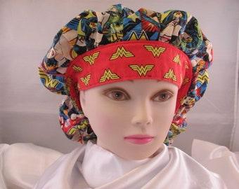 Women's Bouffant Scrub Hat Wonder Woman Old School