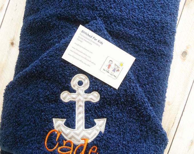 Anchor Hooded Towel with Personalization. Beach Anchor Towel, Nautical Gift, Sailor Gift, Captain Gift, Boating and Sailing