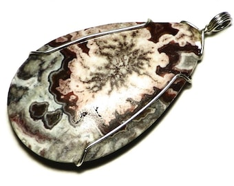 Crazy Lace Agate Necklace, Lace Agate Pendant, Sterling Silver, Chevron Pattern Agate Cabochon, Crazylace Jewelry, Red and White Agate Stone