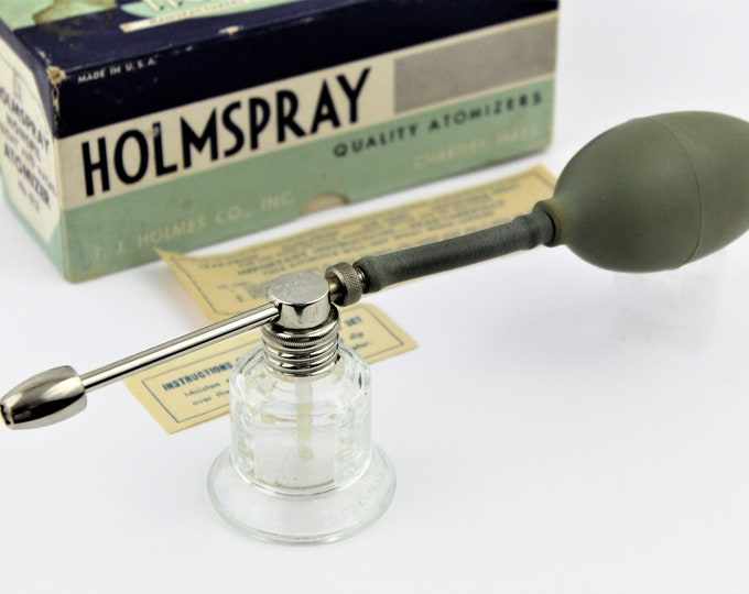 Vintage 1960s Holmspray Atomizer No. 612 with Original Box and Instructions