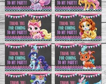 Princess Palace Pets Party Tags Chalkboard - Palace Pets Goody Bag Tags - Palace Pets Birthday Printables - Palace Pets Party Favors - Set 2