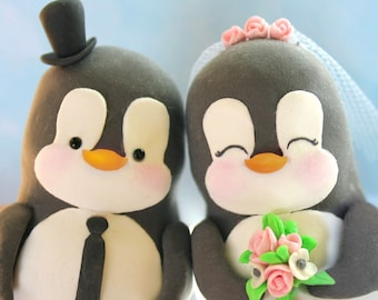 Custom Penguin wedding cake toppers - love birds personalized black white pink funny elegant cute bride groom figurines wedding gift