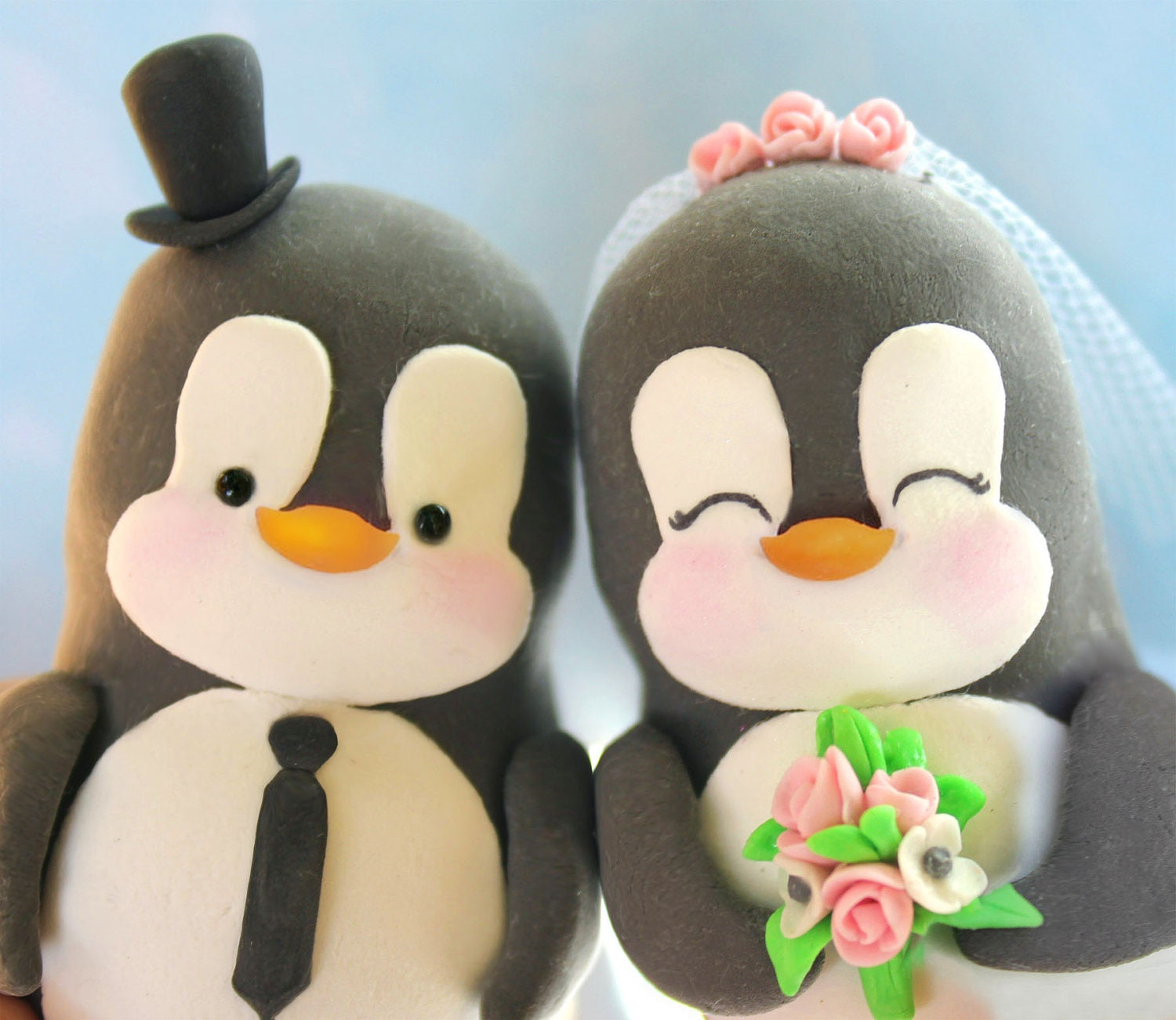 Custom Penguin wedding cake toppers love birds personalized