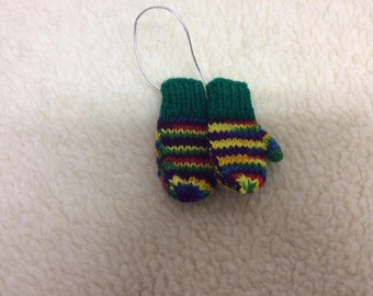 Knit mittens for Christmas tree