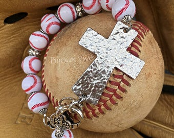 Baseball Cross Bracelet, Baseball Mom Jewelry, Baseball Jewelry, baseball Mom Cross ~ Softball Cross Bracelet - Team Mom Gift