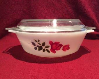Pyrex JAJ June Rose Casserole dish 2 pint #509 circa 1960