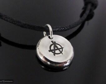 Sterling Silver Pebble Anarchy Necklace Choker, anarchy pendant, anarchy choker, anarchy necklace, adjustable choker, symbol necklace