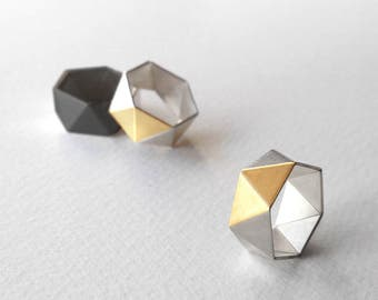 Geometric Gold Plated Ring, Geometric Silver Ring, Sterling Silver Ring, Hexagon Silver Ring, Statement Silver Ring, Minimalist Ring