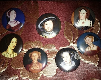 """King Henry the Eighth and his Wives 1.25"""" Pinback Buttons or magnets"""