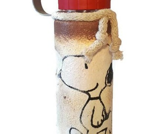 Snoopy waterbottle  decoupage handpainted plastic hydro flask, water bottle  cup l gift for kids, gift for birthday, gift for friends