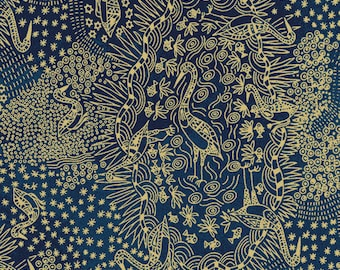 Australian Fabric - Crane - Bird Fabric - Aboriginal Fabric - Brolga Life Blue by Nambooka - Priced by the half yard