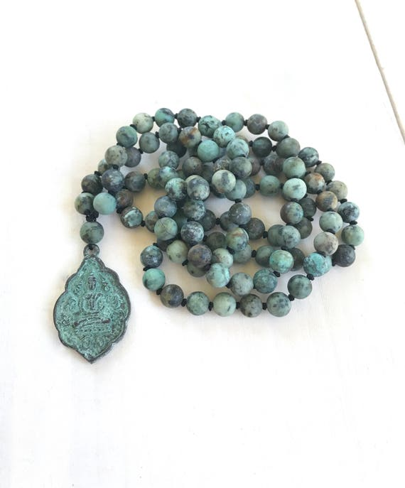 African Turquoise Mala Beads, Seated Buddha Mala Necklace, Knotted 108 Bead Mala, Meditation Beads , Matte African Turquoise