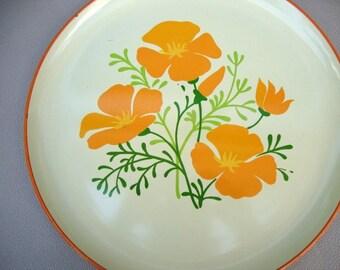 Vintage Serving Tray with Orange Poppies, Vintage Serving Platter, Retro Orange Plastic Tray, Large Kitchen Tray, Mid Century Round Platter