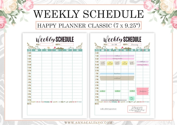 Happy Planner Weekly Schedule Printable Hourly Planner