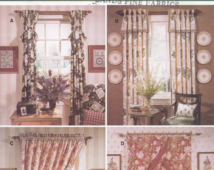 FREE US SHIP Butterick 4758 Sewing Pattern  Waverly Window Treatments Drapery Panels Drapes Uncut Factory Folded 1996