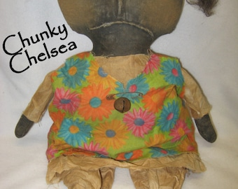 "Chunky Chelsea Primitive 17"" Black Doll  IMMEDIATELY DOWNLOADABLE E-PATTERN"