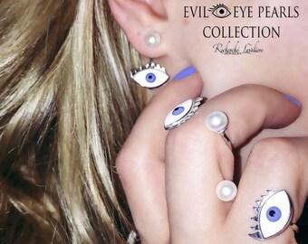 Evil eye AZIZA pearl earrings crawler Sterling Silver