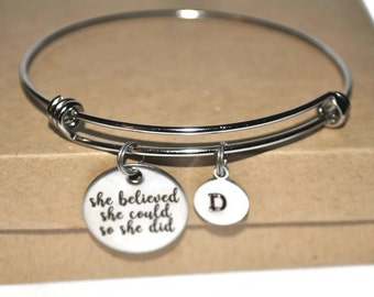 She believed she could so she did and initial charm stainless steel bracelet
