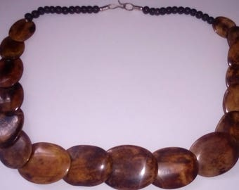 dyed bone disc bead necklace