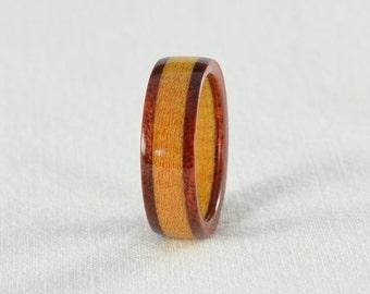 Wood Ring - Bloodwood and Pau Amarillo Wood Ring - Wedding Ring, Wedding Band, or Engagement Ring - All Natural - Handmade