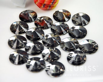18mm Round SUPER DARK Black Diamond,  18 x Sew On Crystals  flatback