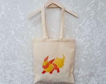Flareon Eevee Tote Bag Pokemon Tote Bag Canvas Tote Bag Pokemon Gift Cute Geek Gift Eevee Gift
