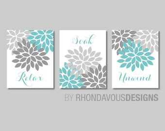 Floral Relax Soak Unwind Print Trio. Bathroom Home Decor Wall.  Bathroom Art. Flower Bathroom. Blue Bath Art. Flower Bath Art. NS-803