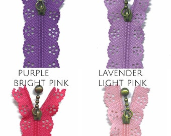 Japanese Lace Zipper Kawaii Zakka style - 8 inch or 14 inch Floral lace pattern zip CHOOSE COLOUR lace edge zip with antique brass puller