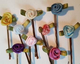 Ribbon flower bobby pins. pink rose flower hair pin, blue rose hair barrette, ribbon rose floral hair pin, rose bridesmaid bobby pin floral