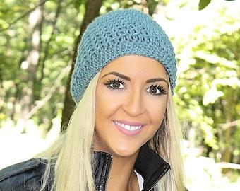 Blue Beanie, Blue Hat, Blue Beanie Hat, Blue Crochet Hat, Blue Winter Hat, Crochet Beanie Hat, Light Blue Hat, Blue Skull Cap, THE ACADIA