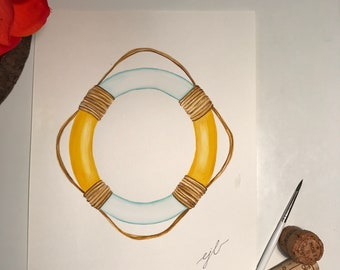 """Yellow lifesaver. An original watercolor painting on 90 lb. cold press paper. Size 9""""x 12"""" signed on front."""
