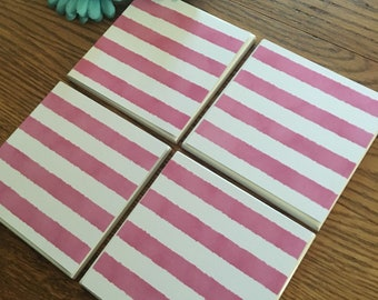 Striped coasters/3 colors/set of 4