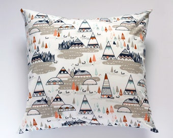 TeePee Nursery Pillow Cover, Indian Summer Nursery Decor, Woodland Oak Tee Pee Pillow Cover, Baby Boy Tribal Throw Pillow, Accent Pillow