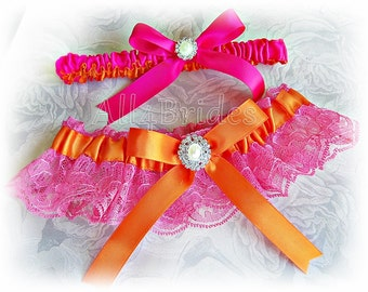 Hot pink and orange wedding garter set, lace and satin bridal garters.