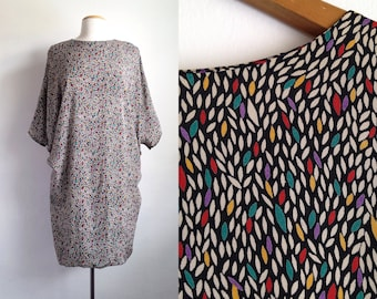 80s tunic top vintage 80s tops batwing shirt oversized blouse rayon abstract top 1980s clothes loose fit 80s clothing