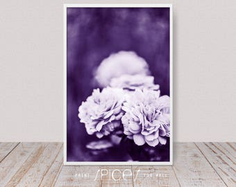 Purple Wall Art, Violet Art Decor, Dark Floral Roses Photography, 2018  Trending Ultra Violet, Modern Flower Print, Contemporary Photo, Lilac