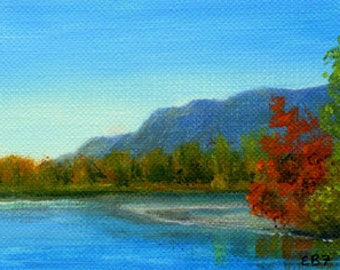 Autumn Saco river view NH original ACEO oil painting by Elaine Farmer