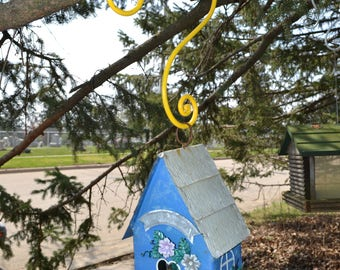 Bird House Hanger Bird Feeder S Hook  Tree Branch Hook with Penny End Scrolls Elegant Yard Art