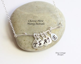 Sterling Silver Mod Branch with Initial Leaves... Family Tree Necklace... Mothers Grandmothers