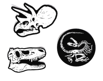 Dinosaur Vinyl Stickers 3-pack - T-rex | Triceratops | Dino Skeleton Death Pose - 'VECTOR THAT FOSSIL', by Vector That Fox
