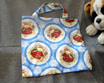 Holiday Small Gift Tote Bag, Snowmen N Snowflakes on Blue Print