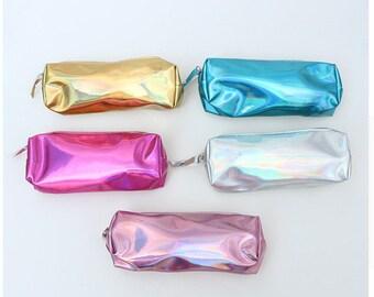 Metallic Shiny Pencil Bag Stationery Storage Organizer School Supply