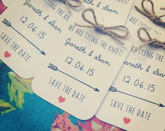 Tying the Knot Save The Date Cards - with twine bow detailing