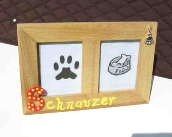 Final Markdown Sale...SCHNAUZER Dog Breed Wood Desktop Double Photo Frame w/Pawprint Charm CHOOSE Red or Blue Letter