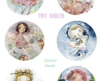 Tiny Dancer - feuille d'autocollants - 6 stickers ronds