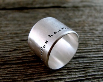 Personalized Wide Ring - Word Wide Ring - Message Wide Ring - Quote Wide Ring - Anniversary Present -On The Edge Ring