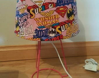 dc comics themed - wonder woman, batgirl, super girl - superhero women lamp - custom made