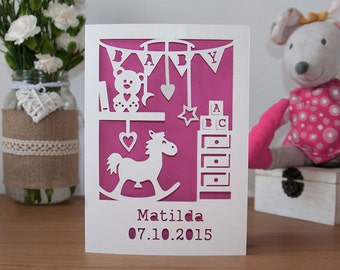 Personalised New Baby Girl Card - It's A Girl Handmade Paper Cut - 5x7 Inches